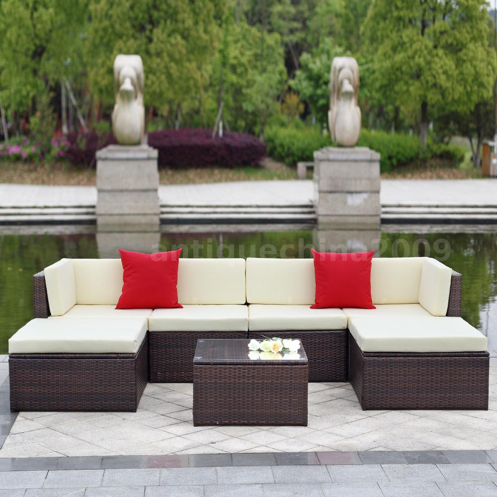 7x Cushioned Outdoor Patio Garden Furniture Sofa Set