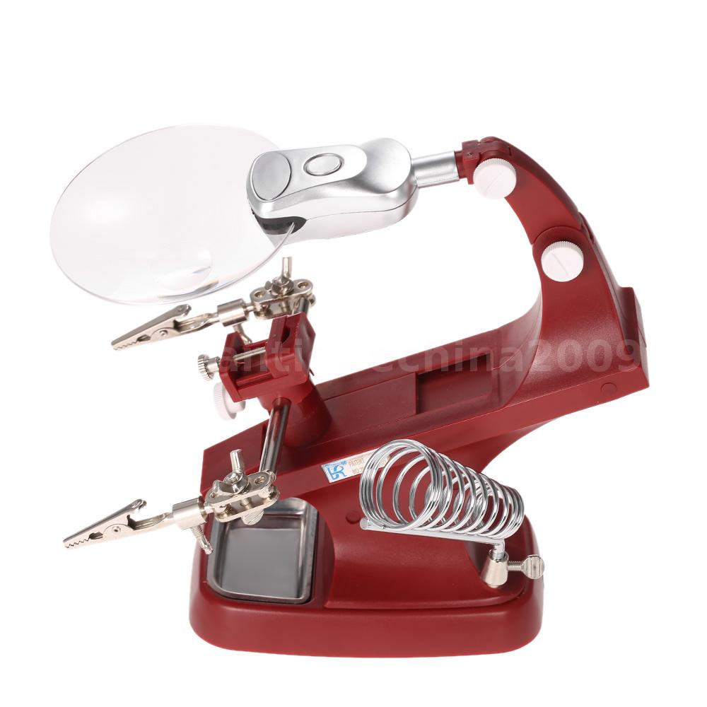 3x 4 5x helping hand magnifying clip soldering iron stand lens magnifier b1r6 ebay. Black Bedroom Furniture Sets. Home Design Ideas