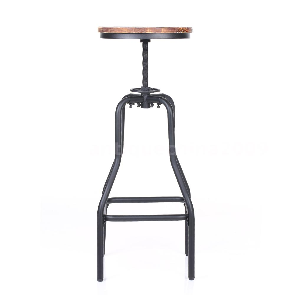 Height Adjustable Swivel Bar Stool Natural Pinewood Kitchen Dining Chair P0R4