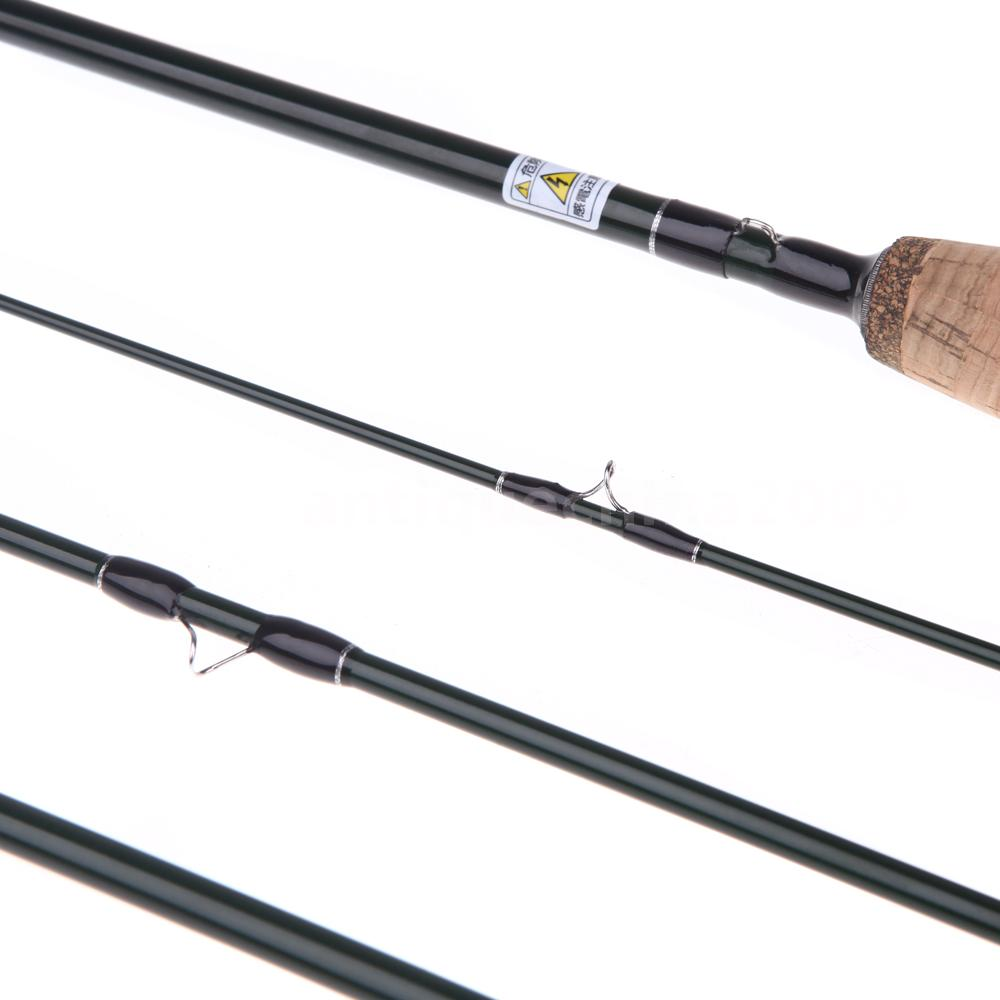 Fly fishing rod pole tackle travel 2 4m 4 sections for Travel fishing pole