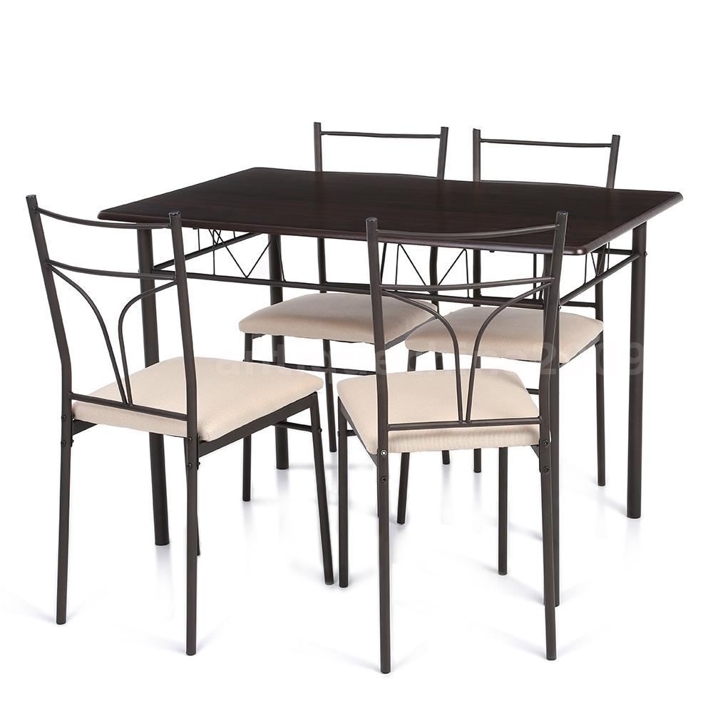 5 piece metal dining table set 4 chairs kitchen ergonomic for 4 chair kitchen table set