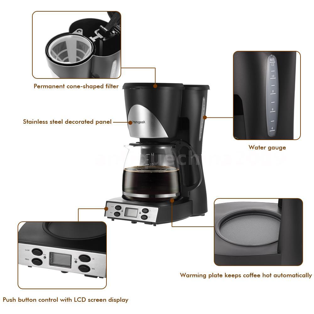 Automatic 1.5L Coffee Maker 12 Cups Programmable Coffeemaker Coffee Machine E5A4 eBay