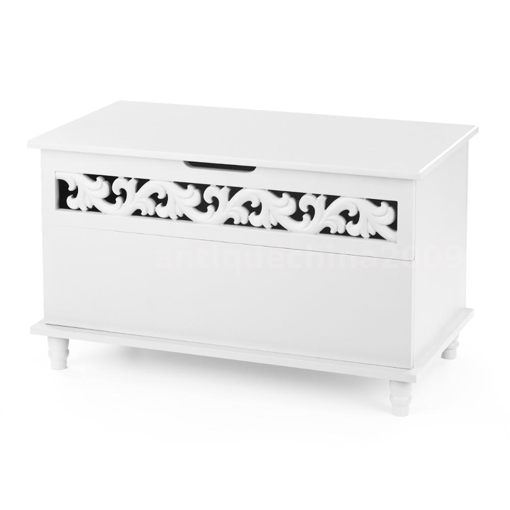 Rectangle Storage Chest Entryway Wood Bench Living Room Play Kids ...