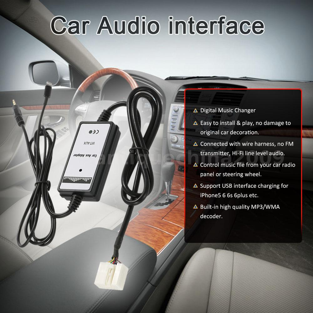 3.5mm 6Pin Car Aux-in Audio Adapter For Honda Acura USB