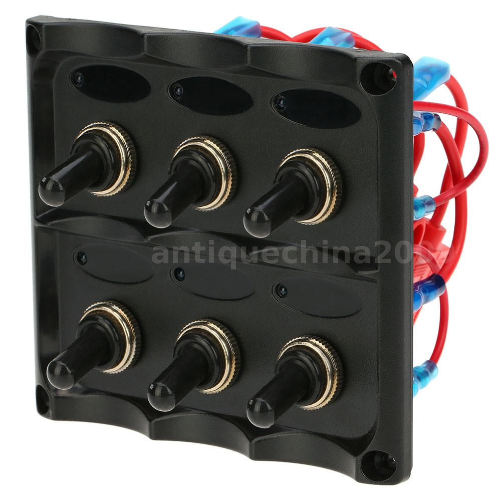 12 24v diy car marine boat 6 gang toggle switch panel with. Black Bedroom Furniture Sets. Home Design Ideas