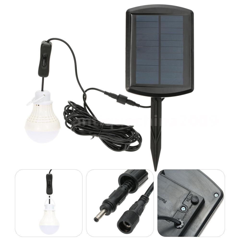 Solar Power Rechargeable 5 LEDs 100LM Bulb Shed Barn Light