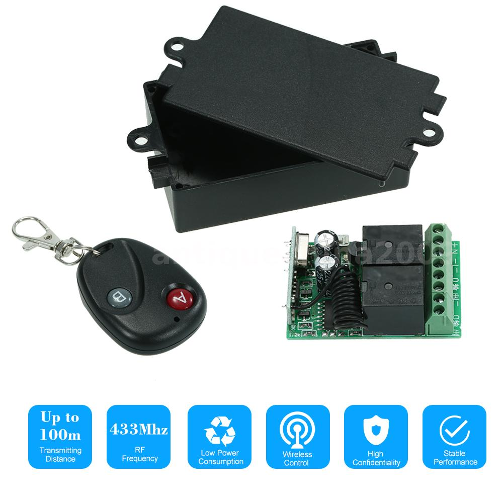 Wireless 433mhz Remote Control Switch DC12V10A 2ch Relay Receiver For Door Motor
