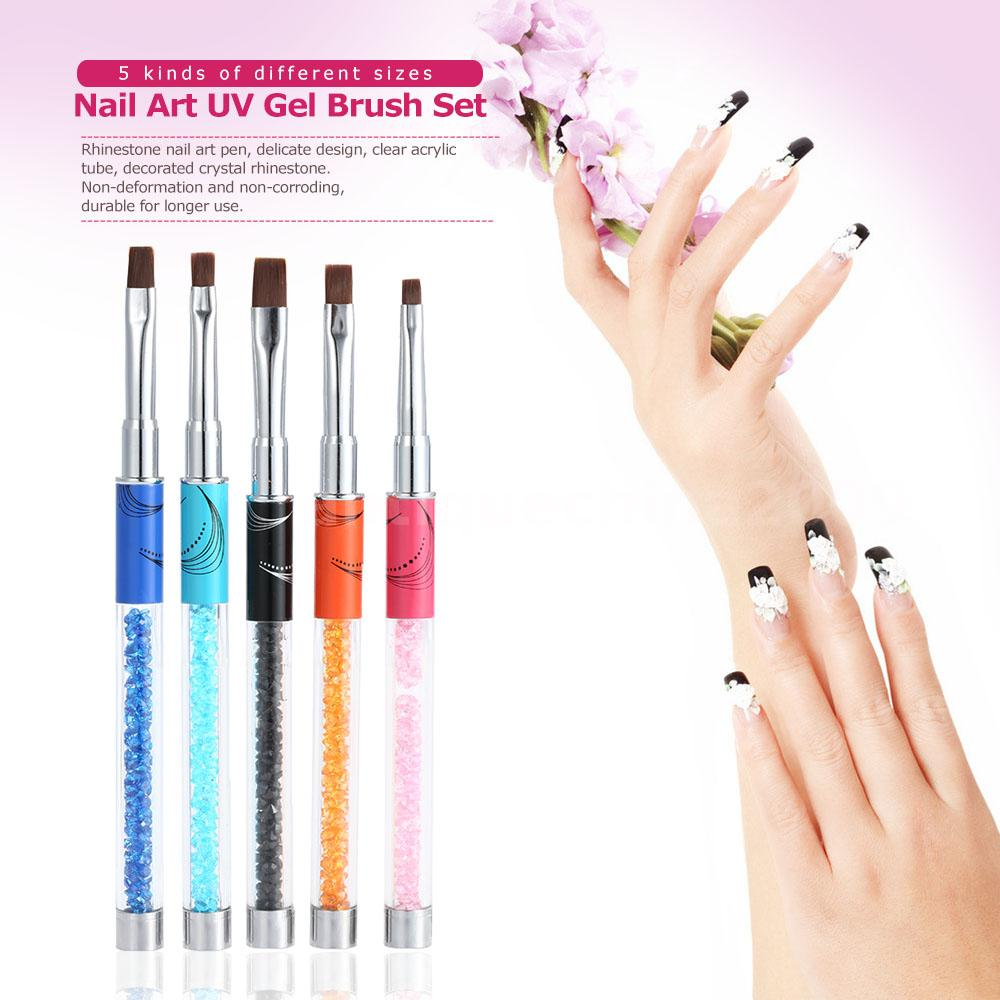 5 Sizes Nail Art Uv Gel Brush Set Flat Sable Head Acrylic Diy Nail